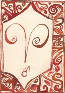 Widder: Kalligraphie von Martin Sebastian Moritz